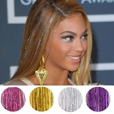 Holographic Sparkle Hair Tinsel 120 Strands Glitter Extensions Highlight Bling • 2.49£