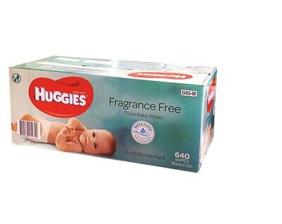 AU54.99 • Buy New 640 HUGGIES Thick Baby Wet Wipes Bulk Mega Pack Fragrance  Free 2020 Stock