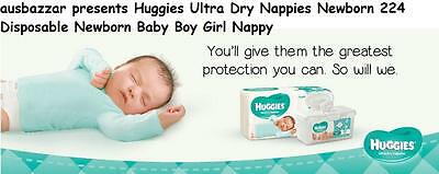 AU84.99 • Buy Huggies Ultra Dry Nappies Newborn 224 Disposable Newborn Baby Boy Girl Nappy