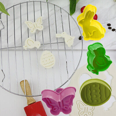 4x Easter Plastic Cookie Cutter Set Rabbit Chick Egg Bunny Biscuit Fondant Cake • 3.59£