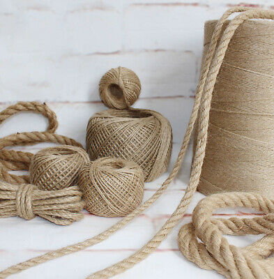2-50m Natural Jute Rope Twisted Braided Decking Boating Sash Cord Hessian Rope • 25.14£