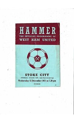 1971/72 West Ham United V Stoke City League Cup Semi Final Football Programme • 1.25£