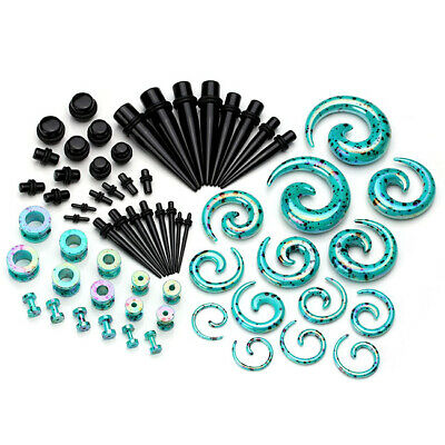 64pcs Acrylic Ear Gauges Spiral Tapers Stretcher Tunnel Plug Expander Kit Set-FQ • 19.27£
