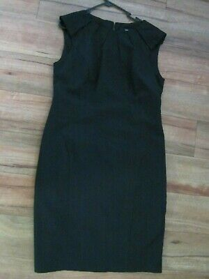 AU20 • Buy Cue, Size 12=14, Black Pinstriped,lined Dress