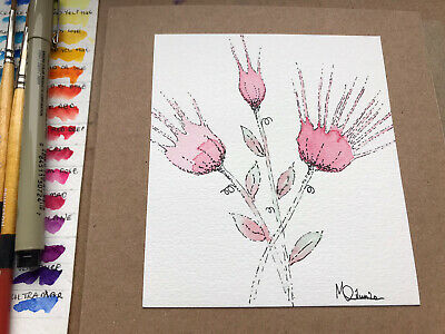 £3 • Buy Original Hand Painted Watercolour Thank You, Birthday, Blank Greeting Card.