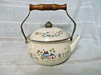 $12.50 • Buy Vintage Retro Enamel Tea Pot Kettle W/Country Scene 7  Diameter