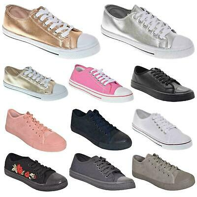 Ladies Womens Flat Lace Up Girls Pumps Canvas Plimsolls Trainers Shoes Size 3-8 • 9.77£