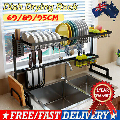 AU71.14 • Buy 89/95cm Stainless Steel Over The Sink Drying Dish Rack Kitchen Holder Organizer