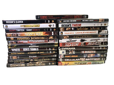 $ CDN26 • Buy Mixed Lot Of 25 Action Thriller DVD Movies: Scarface, Ocean's Thirteen, Slevin