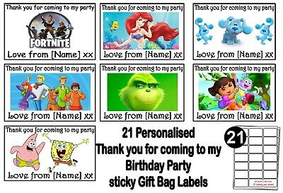 Thank You For Coming To My Party Personalised Birthday Stickers Labels, Bag Tags • 1.75£