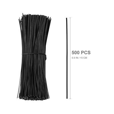 £5.96 • Buy 500pcs Black Plastic Coated Iron Wire Twist Ties Cable Wrap Organizer Ties 15cm
