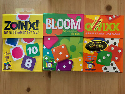 $ CDN32.92 • Buy 3 Sealed Dice Games Set Zoinx! Qwixx Bloom Kids Learning Education Math 8+