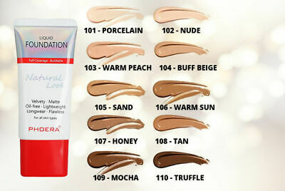 PHOERA Matte Liquid Skin Foundation Full Coverage Long Lasting Light Face Makeup • 4.95£