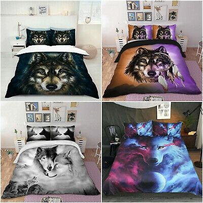 AU45 • Buy Wolf Doona Duvet Quilt Cover Set Single/Double/Queen/King Size Bedding Linen New