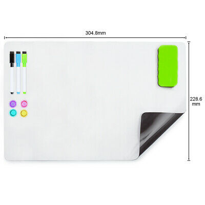 AU15.99 • Buy A4+Soft Magnetic Whiteboard For Fridge 304X228MM With 3 Markers