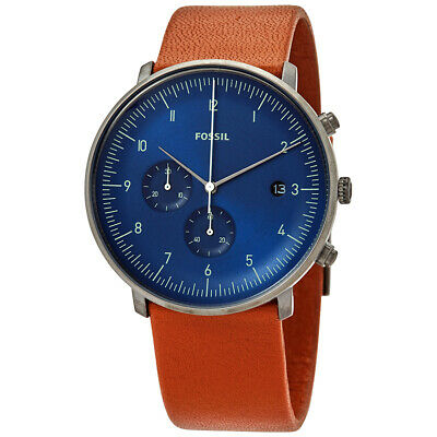 View Details Fossil Mens FS5486 Chase Watch Brown Leather Strap Blue Dial Watch • 47.99£