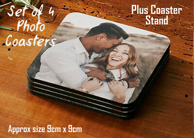 Set Of 4 Personalised Hardboard Photo Drink Coasters Custom Printed 9cm Square • 6.79£