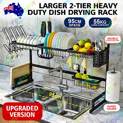AU117.99 • Buy 95cm Dish Drying Rack Organizer 2Tier Kitchen Draining Over Sink Stainless Steel