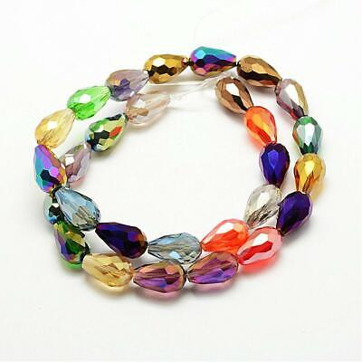 Strand Teardrop Faceted Glass Crystal Beads Briolette Shape 15x10mm 25 Beads • 3.99£
