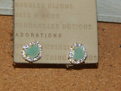 $ CDN25.61 • Buy Earrings Anthropologie Stone Green Small Mini Encrusted Rhinestone New Post $32