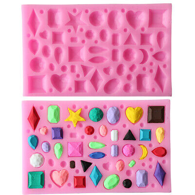 Multi Jewelled Diamond Shapes Silicone Mould Jewels, Gems Cake Topper Fondant UK • 3.99£