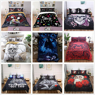 Skull Duvet Quilt Cover Gothic 3D Bedding Set Pillowcases Single Double King Hot • 23.49£