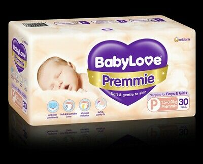 AU17 • Buy Babylove Premmie Nappies 30 Pack Brand New