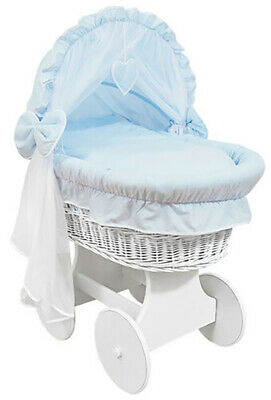 £149.99 • Buy WHITE WICKER WHEELS CRIB/BABY MOSES BASKET + COMPLETE BEDDING Blue/Cotton