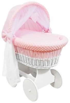 £149.99 • Buy WHITE WICKER WHEELS CRIB/BABY MOSES BASKET + COMPLETE BEDDING Pink/Dimple
