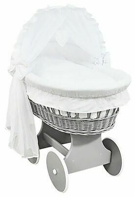 £149.99 • Buy GREY WICKER WHEELS CRIB/BABY MOSES BASKET + COMPLETE BEDDING White/Cotton