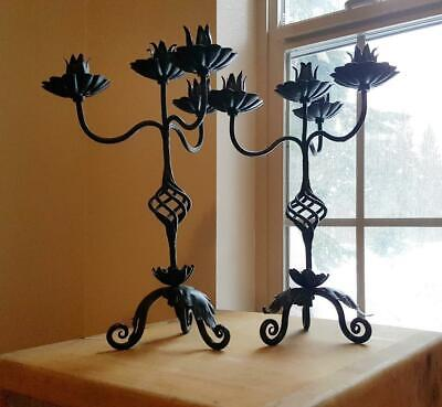 Pair Gothic Spanish Revival Wrought Iron Candelabra Lotus Candle Stick Holders • 150.07£