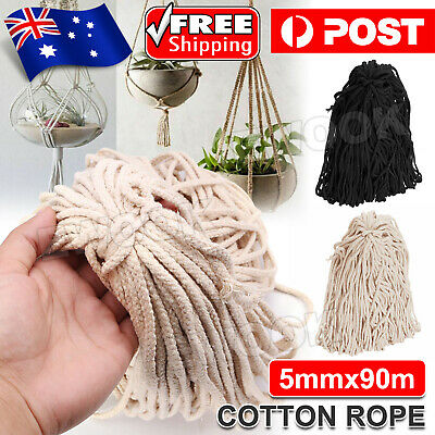 AU12.85 • Buy 5mm Macrame Rope Natural Beige Cotton Twisted Cord Artisans Hand Craft 90M NEW
