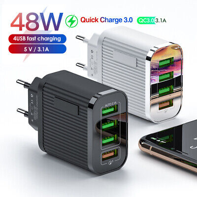 AU12.45 • Buy AU_ Home Travel 48W QC3.0 Quick Charging 4 USB Ports Wall Charger Adapter Welcom