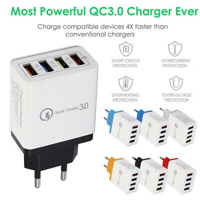 AU5.30 • Buy AU_ EU/US Plug 4 USB Ports QC3.0 Fast Charging Travel Wall Charger Power Adapter