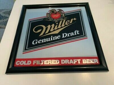 $70 • Buy Miller Genuine Draft Mirror Beer Sign Reverse Style In VG Condition