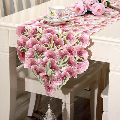 AU32.90 • Buy 15x77inch Pink Embroidered Floral Table Runner Satin Wedding Party Dining Decor