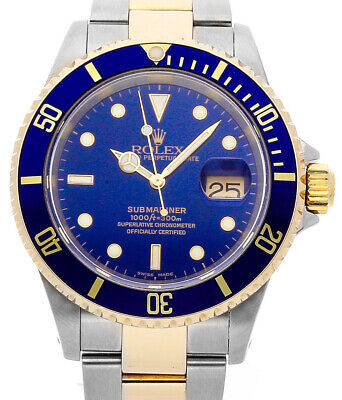 $ CDN12383.16 • Buy Rolex Submariner 18k Gold & Steel Mens 40mm Automatic Dive Watch A 16613