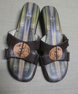 ICON Low Wedge Leather Sandals Shoes Wearable Art Asian Size 9M • 28.18£