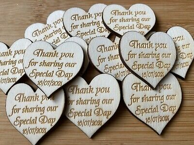 £3.75 • Buy Personalised Contemporary Wooden Hearts 4cm Table Decorations Wedding Favours