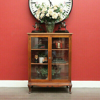 AU695 • Buy Antique China Cabinet, 2 Door Australian Maple Display Cabinet Hall Cupboard