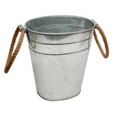Tall Galvanized Metal Ice Bucket For Drinks Or Planter Pail With Jute Handles • 7.15£