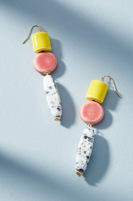 $ CDN32.75 • Buy Earrings Shapes Glass Beads Yellow Pink White Anthropologie Dangle New $58