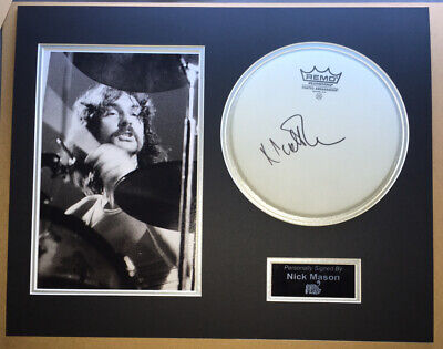 £169.99 • Buy SIGNED NICK MASON 20x16 DRUM HEAD MOUNTED DISPLAY RARE PINK FLOYD WATERS GILMOUR
