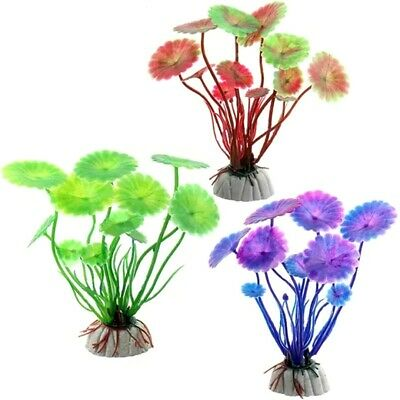 Aquarium Artificial Plastic Plants Grass Flower Fish Tank Aquatic Ornament Decor • 0.99£