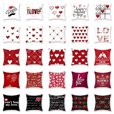 18'' Red Pillow Case Sweet Love Square Cushion Cover Home Decor Valentine'S Day • 2.89£