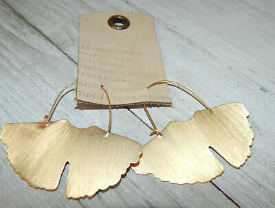 $ CDN41.68 • Buy Earrings Anthropologie Brushed Gold Butterfly Wings Hook Dangle Nwt $48