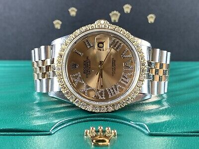 $ CDN8965.40 • Buy Rolex Datejust 36mm Men's Watch 2-Tone Gold/SS Men's 3ct Genuine Diamonds 16013