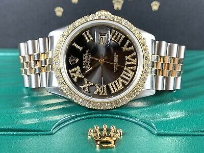 $ CDN8959.46 • Buy Rolex Datejust 36mm Men's Watch 2-Tone Gold/SS Black Dial 3ct Diamonds 16013