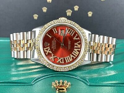 $ CDN8959.46 • Buy Rolex Datejust 36mm Men's Watch 2-Tone Gold/SS Red Dial 3ct Diamonds 16013