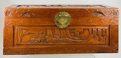 Vintage Hand Carved Chinese Camphor Wood Chest - Storage Box • 390£